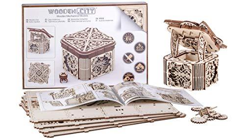 WOODEN.CITY Modello in Legno Scrigno Misterioso Puzzle 3D Meccanico Mystery Box by Modellino di progetti per Adulti e Bambini 3D Modello Tecnico in Legno