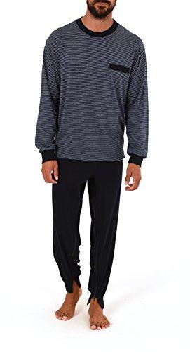 Normann Care Herren Pflegeoverall Langarm mit Reissverschluss am Rücken und Bein 58441, Farbe:Ringel Jeans;Größe:S