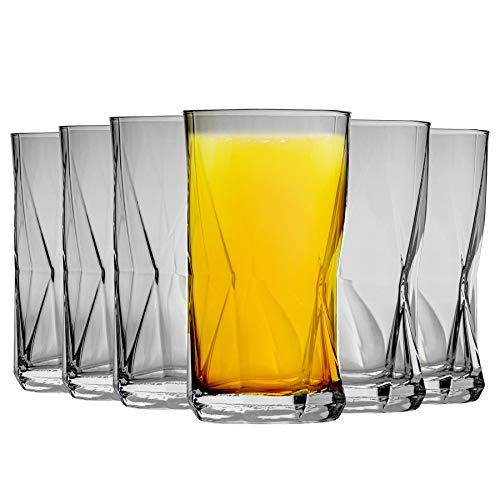 Bormioli Rocco Cassiopea géométrique Highball Verres à Cocktail Set - 480ml - Paquet de 12