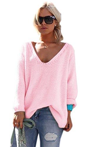 Mikos* Damen Pullover Hoodie Sweatshirt Warm Lange Ärmel Casual Sleeve Pullover Jacke Slim Mantel Tops (617) (Hellrosa)