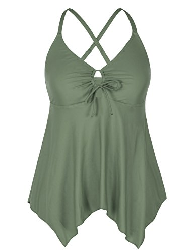 Firpearl Women's Black Floral Flowy Swimsuit Crossback Plus Size Tankini Top US20 Army Green