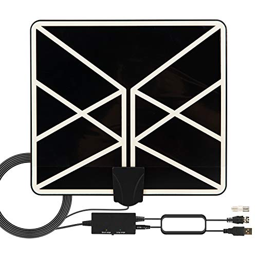 HDTV Antenna 4K 1080p, 2019 New Indoor Amplified Digital TV Antenna 120 Miles Range with Amplifier Signal Booster 18 FT Coaxial Cable Free Local Channels
