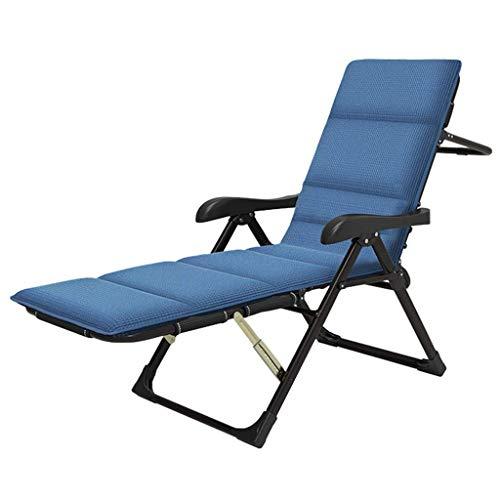ZHJYD Liege Folding Rasen Liegestühle Camping Kinderbett Liegesitz Voll Padded Angeln Bed Heavy Duty Gartenstuhl Sonnenliege Relaxliege mit Kissen Unterstützt 250kg (Color : Blue)