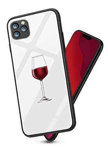 Alsoar Compatible para iPhone 11 2019 (6.1 Inch) Funda Silicona TPU Suave Bumper Protector Carcasas y Trasera Moda Degradado Cristal Templado Cubierta Fina Anti-Arañazos Caso (Copa de Vino Tinto)