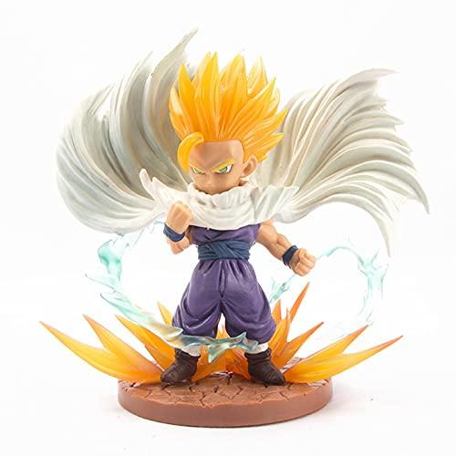 zzdgfc Dragon Ball God Q Version Super Saiyan Son Gohan Vs Cell PVC Figure Model Children's Gifts Super Saiyan 2 Boxed