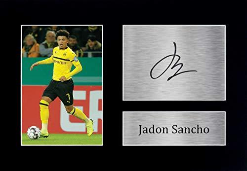 HWC Trading Jadon Sancho A4 Ungerahmt Signiert Gedruckt Autogramme Bild Druck-Fotoanzeige Geschenk Für Borussia Dortmund Fußball Fans