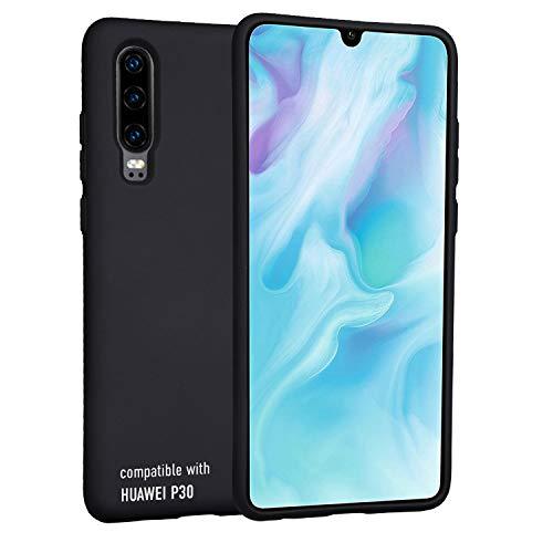 smartect Cover in Silicone per Huawei P30 - Aderenza Perfetta - Superficie Morbida Antiscivolo - Linee Interne Morbide - Case Silicone Nero