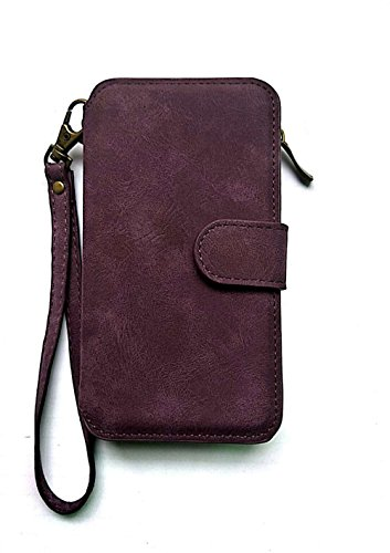 2 In 1 Luxury PU Leather Wallet Case for Iphone Flip Cover Protective Shell Detachable Cover Card Holder Slot Wrist Strap For iPhone 6/7/8 4.7,5.5 inch,For iPhoneX (purple, I7/7S)