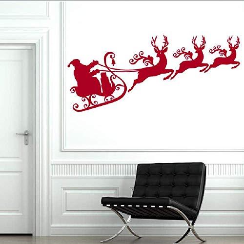 Rentiere Mit Santa Schlitten Silhouette Wandbild Weihnachtsferien Kunst Wandaufkleber Home Kinderzimmer Dekoration Wandtattoos 40 * 87Cm