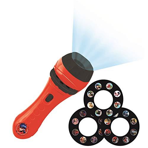 Lexibook, Lampe Torche et projecteur Miraculous avec 3 disques, 24 images, créez vos propres histoires, LTC050MI