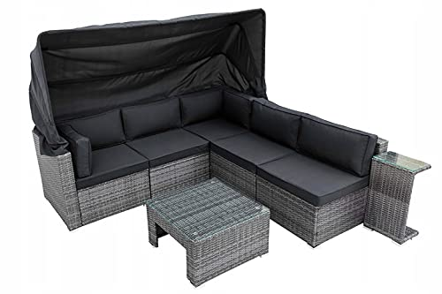 IZER Polyrattan Andros Lounge Farbe dunkelgrau. Gartenmöbel Set für 4-5 Personen. Gartenlounge Set mit Dach. Sofa, Tisch und klein Tisch. Polyrattan- dunkelgrau/Sitzbezüge in dunkelgrau