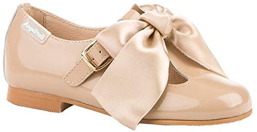 Merceditas Charol con Lazo para Niñas Todo Piel mod.516. Calzado infantil Made in Spain, Garantia de Calidad. (29, Camel)