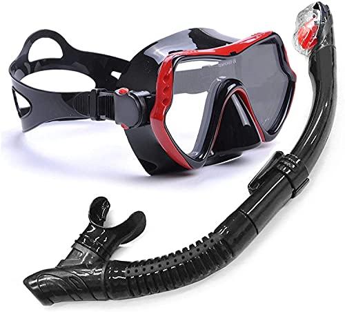 GTJF Máscara de Buceo Máscara de Snorkel Professional Anti Fog Buceo de Buceo Gafas Máscara Snorkel Set para bucear Natación Snorkeling y Otros Deportes submarinos (Color : Red)