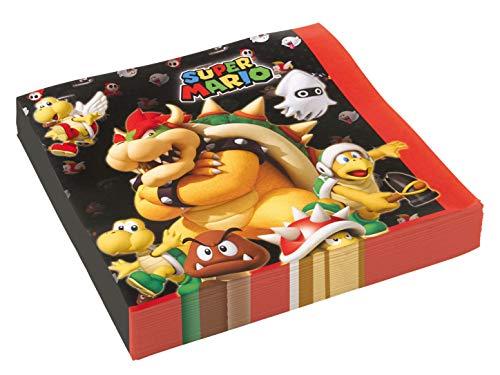 Amscan 9901538 - Servietten Super Mario, 20 Stück, 33 x 33 cm, Partygeschirr, Kindergeburtstag