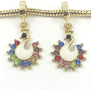 DIY 2pcs Swan Gold European Charm Crystal Spacer Beads Fit Necklace Bracelet