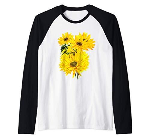Tema de jardinería de grandes girasoles Camiseta Manga Raglan