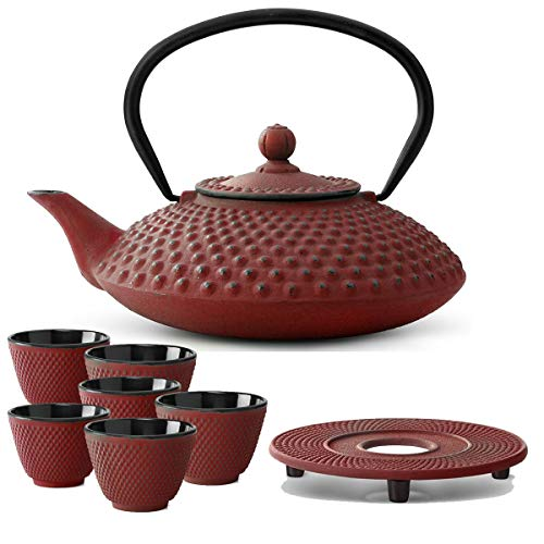 Bredemeijer Teekanne asiatisch Gusseisen Set rot 1,25 Liter mit Tee-Filter-Sieb mit Untersetzer und Teebecher (6 Tassen)