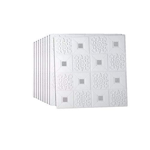 sknonr Feuchtigkeitsdichte tapete Aufkleber, selbstklebend 3D Stereo wandaufkleber Schaum Aufkleber dekorative Decke Hintergrund Wand wasserdicht (Color : Silver)