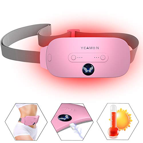 Portable Cordless Heating Pad, Electric Waist Belt Device,Fast Heating Pad with 3 Heat Levels and 3 Vibration Massage Modes, Back or Belly Heating Pad for Women and Girl