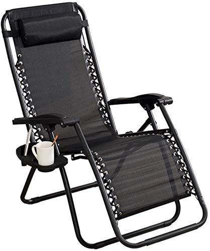 Utomhus lounge stolar solstolar, Reclining Garden Chair Deck Chairs Folding Beach Sun Lounger Recliner Stolar i svart väderbeständig textolin med fritt sidobord/kopphållare, Noll gravitationsstolar