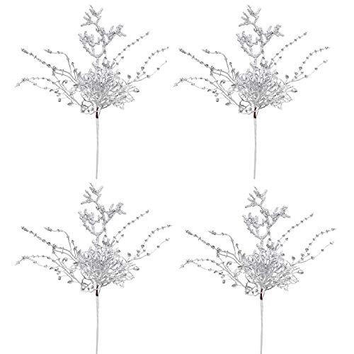 YQing 4 Pezzi Rami Decorativi Natalizi, Artificiali Rami Glitterati Fiori Rami Natalizi, Rami Fiori Finti per Albero di Natale per Artigianato, Vacanze e Decorazioni (Argento)