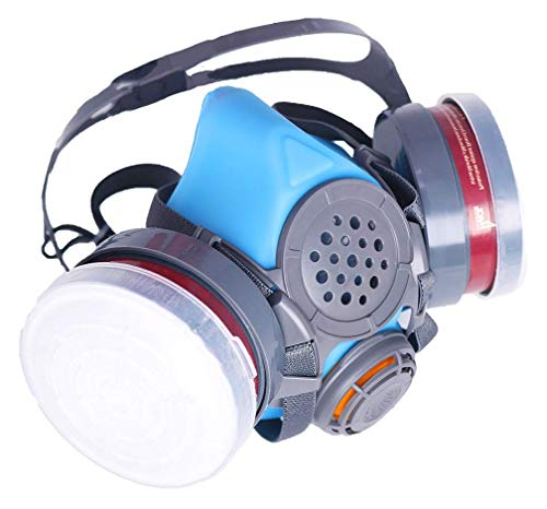 T-60 Half Face Respirator – ASTM Tested – Organic Vapor & Particulate Filtration – Paint Application, Woodworking, & Other Work Protection