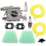Shnile Carburetor Pimer Bulb Air Filter Compatible with Poulan 2150LE Predator 2155 2175 2350 2375 2375LE 2450 2550 2550LE 2550SE 262 PP210 PP260 PPB1838LE S1634 Snapper S1838 SM4018 Chainsaw