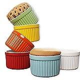 ALOPEX 6 oz Ramekins, Oven Safe Porcelain Souffle Cups Baking...