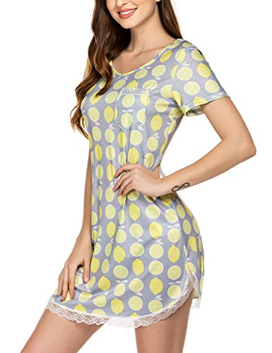 Ekouaer Nightgowns Womens Cotton Night Shirts Lace Trim Short Sleeve Printed Sleep Shirt S