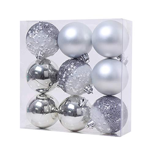 MLXG - Lote de 9 bolas colgantes para árbol de Navidad, bolas colgantes para la decoración de fiesta del nuevo uno en casa, 2,36 pulgadas, plata