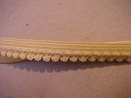 Foldover Elastic 5/8 Inch Wheat Gold Yellow Swag Scallop Foldover Elastic 10 Yd. Pattern Embroidery Sewing Delicate Clothing Garment Supply Decorations Art Craft for Scrapbooking Hair Tie Headband