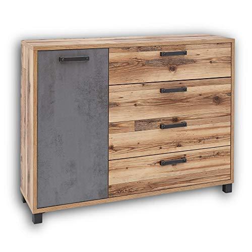 Stella Trading DOVER Schlafzimmer Kommode in Alpine Lodge Optik, Betonoxid - modernes & ausdrucksstarkes Sideboard für Ihr Schlafzimmer - 125 x 96 x 38 cm (B/H/T)