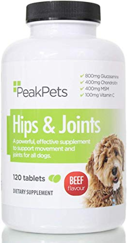 Peak Pets Advanced Dog Joint Supplement: Used by Vets. Triple Strength 800mg Glucosamine, 400mg Chondroitin, 400mg MSM & Added Vitamins | Joint Support, Anti Inflammatory & Pain Relief! (120)