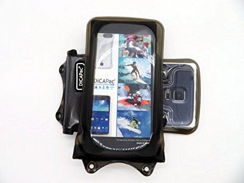DiCAPac WP-C1 Universelle wasserdichte Hülle für Huawei Y360 / Y625 / Y635 Smartphones in Schwarz (Doppel-Klettverschluss, IPX8-Zertifizierung zum Schutz vor Wasser bis 10 m Tiefe; integrierter Airbag treibt auf dem Wasser und schützt das Gerät; extraklare Polycarbonat-Fotolinse; inklusive Trageriemen)