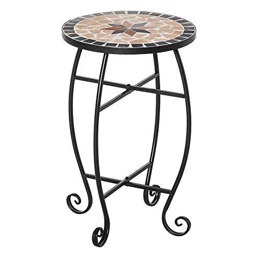 Outsunny Tavolino da Giardino, Tavolo da Esterno in Metallo Nero e Ceramica, Nero e Arancione Ф36 x 58cm
