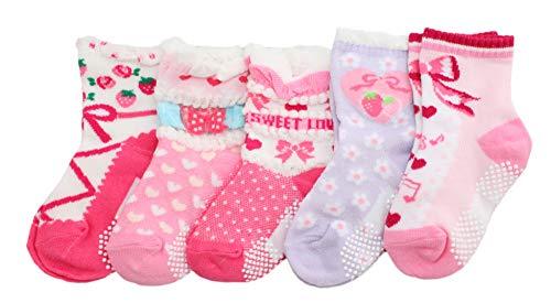 Lot de 5 paires de chaussettes antidérapantes pour bébé fille Motif fraise Rose - Rose - âge 3-5
