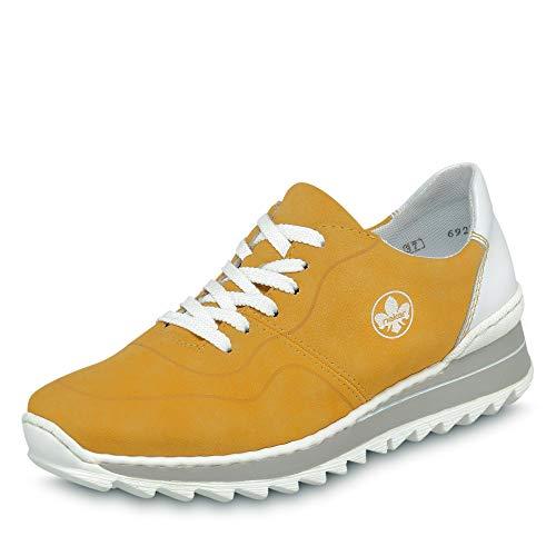 Rieker Damen Frühjahr/Sommer Slip On Sneaker, Gelb (Gelb/Weiss/ 68 68), 38 EU