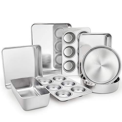 TeamFar Stainless Steel Bakeware Set of 8, Baking Roasting Toaster Oven Pans, Lasagna/Square/Round Cake Pan, Loaf Pan & Muffin Pan, Non-Toxic & Durable, Smooth & Dishwasher Safe
