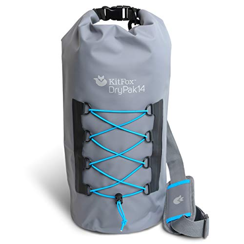 PampJ Trading DryPak14 Waterproof Dry Bag – Waterproof and Durable for Camping Beach Hiking Lakes Backpacking River Rafting Paddle Boarding Fishing Diving Grey with Blue Accents