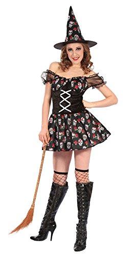 Bristol Novelty Ac264 sorcière Tête de Mort Costume, Taille 10–42