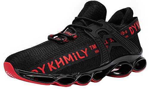 DYKHMATE Chaussure de Securite Homme Femme TPU Legere Respirant Baskets de Sécurité Embout Acier Chaussures de Travail Antidérapante (Rouge,43 EU)