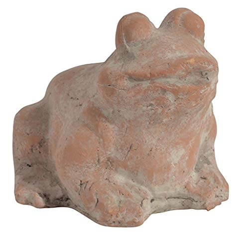 CHICCIE Terracotta Gartenfrosch Braun Grau - Frosch Figur Kröte Gartenfigur Tierfigur Terracottafigur 14cm