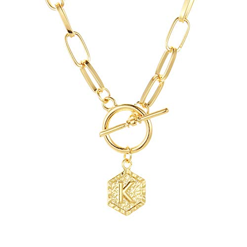BMMYE 14K Gold Chunky Link Chain Necklace K Letter Pendant Hexagon Medallion Minimalist Jewelry for Women Handmade Vintage Paperclip Choker