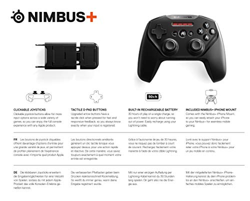 SteelSeries Nimbus+ Wireless Gaming-Controller - Wiederaufladbar - für iPhone, iPad, iPod und Apple TV