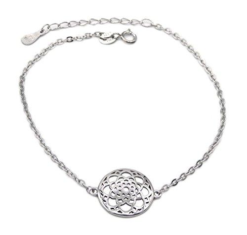 Armband Lebensblume 925 Sterling Silber rhodiniert 19cm lang Silberkette Silberarmband Armkette Armkettchen Blume Damen