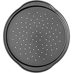 A pizza pan that delivers a crispy crust Round steel non-stick pan with perforated holes lets air flow through, side handles make it easy to go to and from the oven 14 in. dia. (36 cm diam) Limited 10-year warranty Dishwasher safe; however for best r...