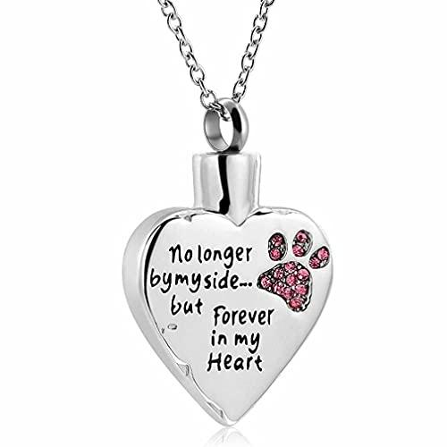 Memorial Cremation Jewelry - Collar de urna de cenizas con forma de corazón para perros y gatos
