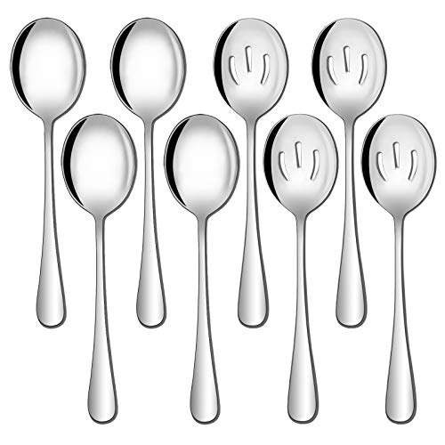 Hiware 8 Pack Stainless Steel Serving Spoons Set Includes 4 Serving Spoons and 4 Slotted Serving Spoons, Buffet Serving Utensils - Mirror Polished, Dishwasher Safe
