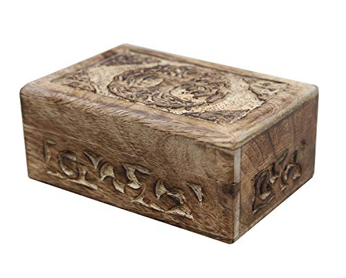 DharmaObjects Hand Carved Jewelry Trinket Keepsake Wooden Storage Box (Celtic Tree Of Life, Medium)