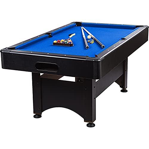 """Maxstore 6 ft Billardtisch Trendline"""" + Zubehör, 3 Farbvarianten, 184x108x82 cm (LxBxH), schwarzes Dekor, blaues Tuch"""